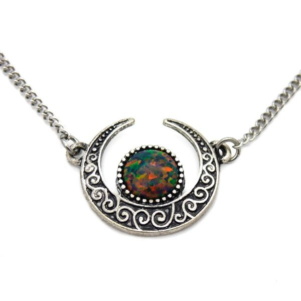 A magical Crescent moon pendant with Opal centre piece on a stainless steel chain. Available as a choker or a necklace. Choker length = 12 inches +...