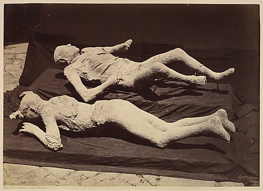 [Plaster Casts of Bodies, Pompeii]  Giorgio Sommer  (Italian, born Germany, 1834–1914)  Date: ca. 1875 Medium: Albumen print from wet collodion negative Dimensions: Image: 27.3 x 38.4 cm (10 3/4 x 15 1/8 in.) Accession Number: 2012.111