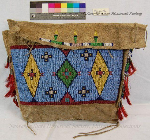 Bag, Storage; Leather; Beaded; Geometric; Horsehair Fringe 1925 /Dakota/Santee Sioux?