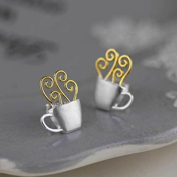 We all know that one person who can't get through the day without their hit of caffeine! These adorable sterling silver coffee cup stud earrings will make the perfect gift for the coffee addict.   #figandwattle #coffeejewellery #caffeineaddict #supercute #silver