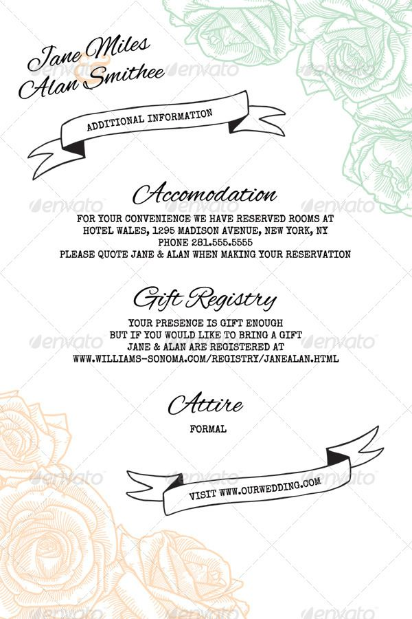 Elegant Rustic Floral Wedding Information Card  Clean, simple, pastel, rose wedding invitations.   Customizable template download from: http://graphicriver.net/item/elegant-rustic-floral-wedding-invitation/7780848?WT.ac=search_thumb&WT.z_author=PixelJam