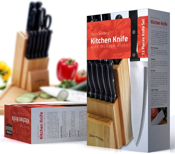 Knife Set with Wooden Block 13 Piece - Chef Knife, Bread Knife, Carving Knife, Utility Knife, Paring Knife, Steak Knife, and Scissors: Kitchen & Dining