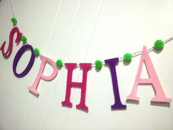 Free Shipping Felt Velvet SOPHIA Name Buntings Handmade High Cases Letter Text Garlands Customized Happy Birthday Party
