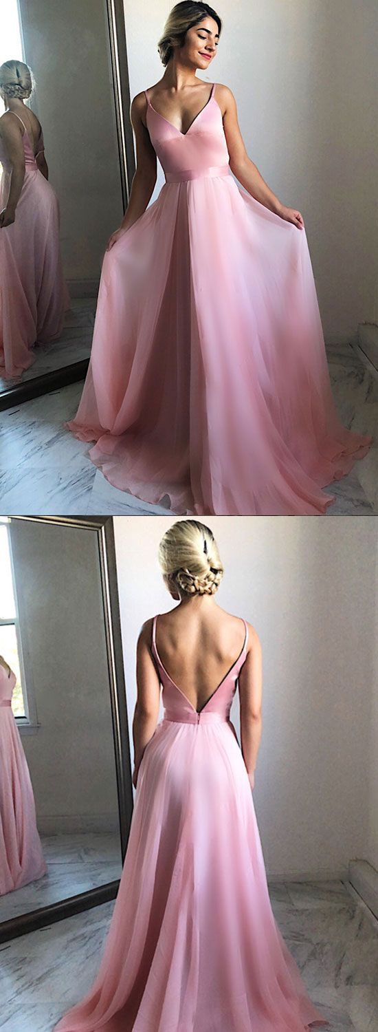 Simple pink v neck chiffon long prom dress pink evening dress in