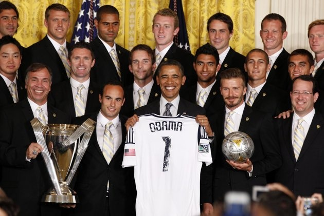 Repost: Obama poses with members of the 2011 Major League Soccer champions, Los Angeles Galaxy soccer team, in the East Room at the White House in Washington