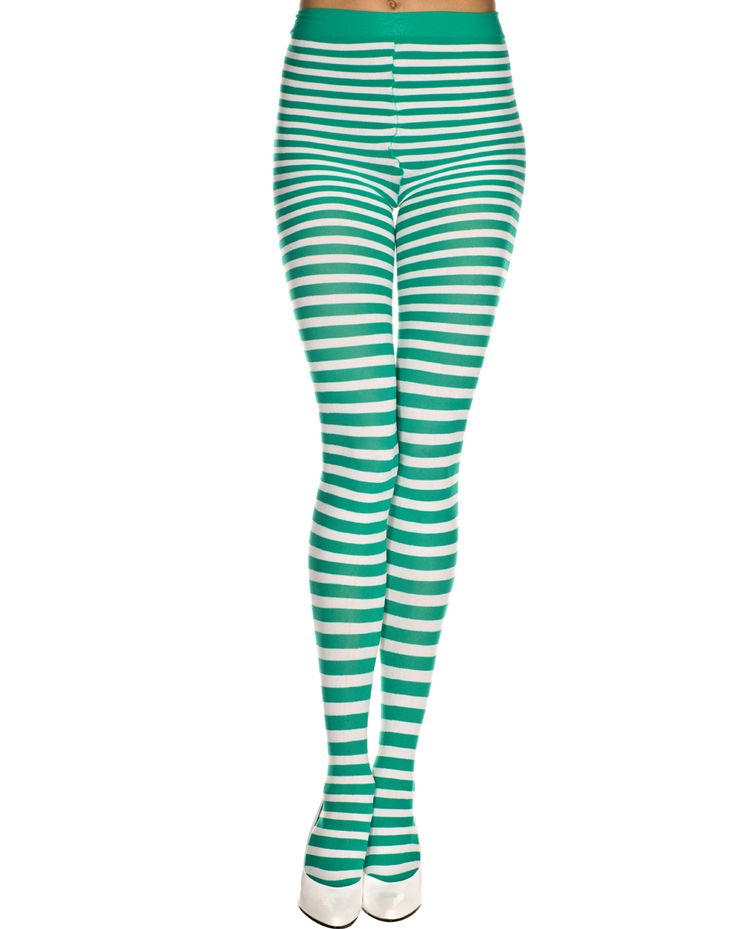 Green & white striped tights for St Patrick's Day
