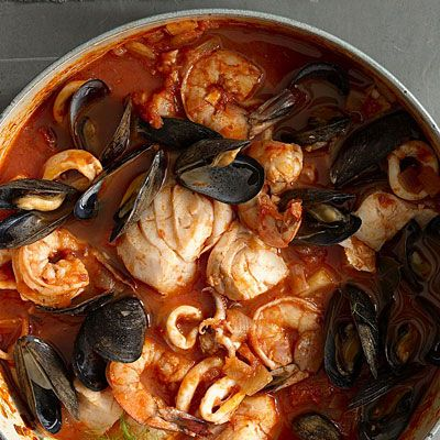 Cioppino is a San Francisco-Style Fish Stew with mussels, pollack, shrimp, and squid.