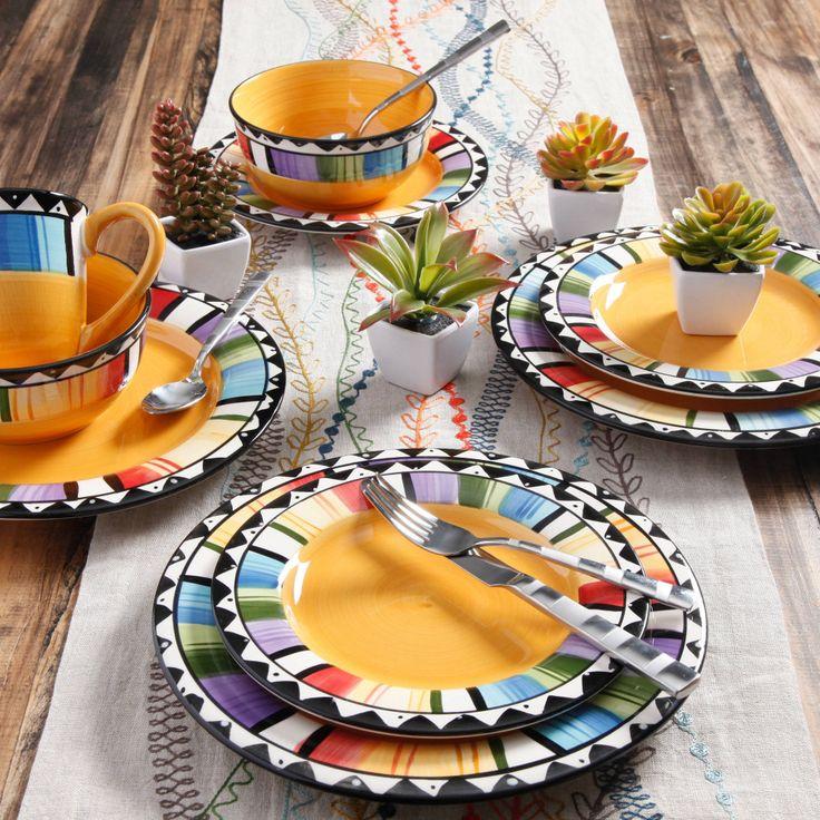 Gibson Home Stoneware Dinnerware Set 16 Piece Dish Plate Set Kitchen Plates New #Gibson