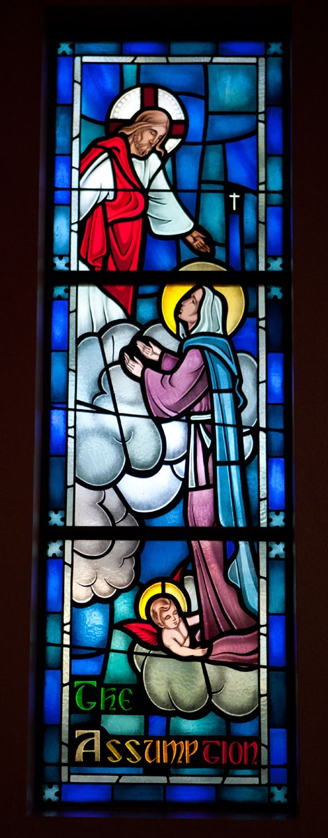 #Assumption of the Blessed Virgin Mary stained glass from CE supported Sacred Heart Church in Carlin, NV. #Catholic