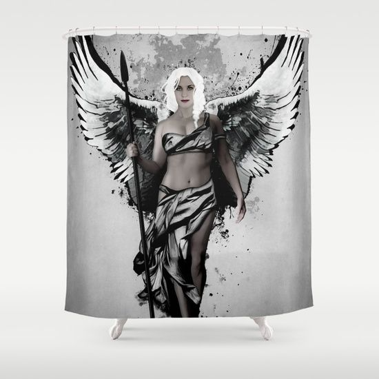 Valkyrja Shower Curtain Digital illustration of a Valkyrie coming down from Valhalla to bring back fallen warriors.  #valkyrie #valkyrja #valkyria #viking #norse #mythology #warrior #oden #odin #valhalla #woman #girl #swan #spear #wings #angel #spatter #showercurtains #shower #curtains