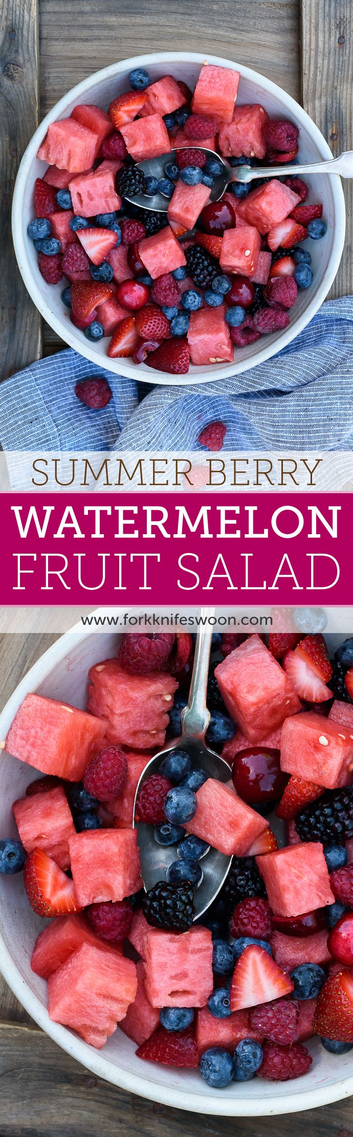 Berry Watermelon Fruit Salad | Fork Knife Swoon @forkknifeswoon. Awesome salad for kids