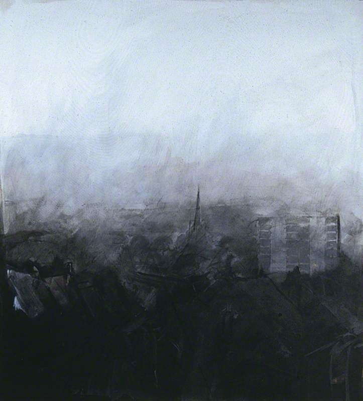 """""""A View of Leeds"""" 1979. Etching by Norman Ackroyd born in Leeds 1938..  