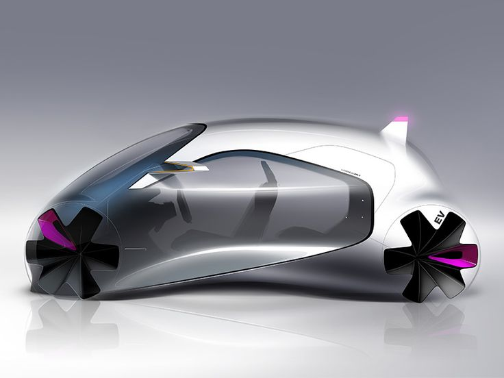 futuristic small city concept car bubble for the future rendering automotive design sketch digital drawing on wacom