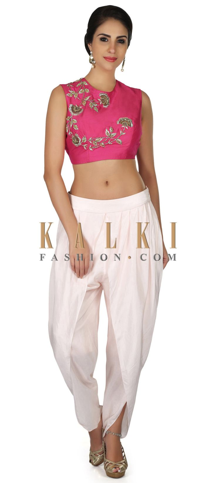 Hot pink zardosi embroidered crop top with cream dhoti pant only on Kalki