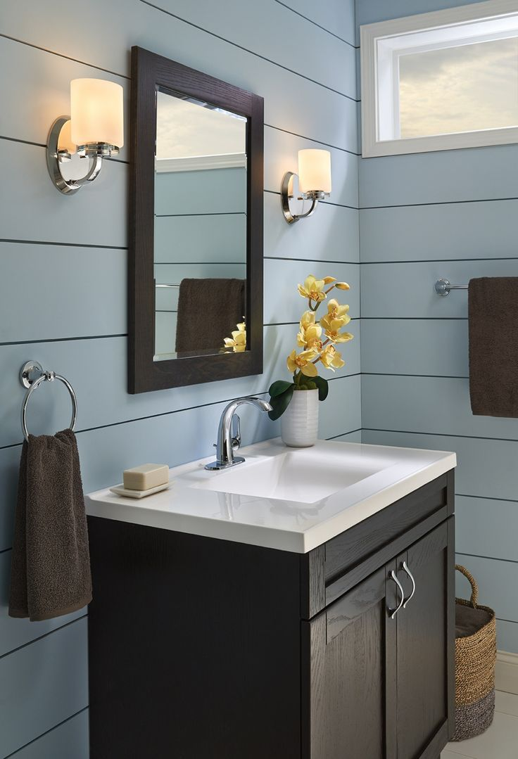 Blue Bathroom. Lighting available at https://aadenlighting.com/search/