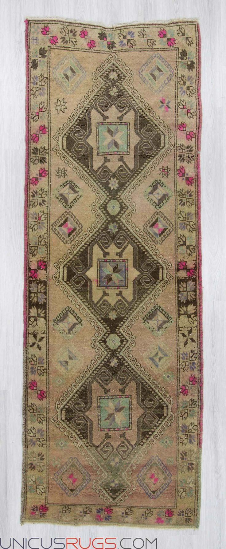 "Vintage decorative runner rug from Malatya region of Turkey. In very good condition. Approximately 50-60 years old. Width: 3' 7"" - Length: 10' 0"" RUNNERS"