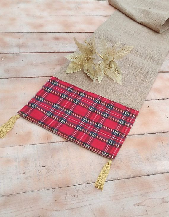 Plaid Christmas Burlap Runner with Tassel  by AJRUSTICCREATIONS
