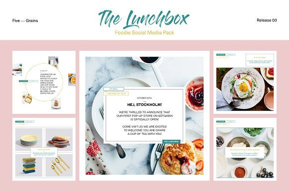 The Lunchbox. Foodie SocialMediaPack by Five — Grains on @creativemarket