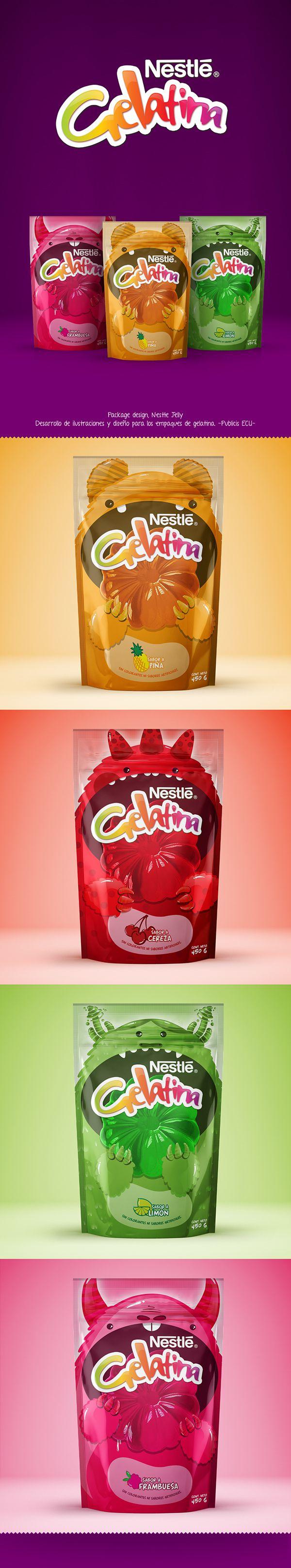 Desarrollo de ilustraciones para el diseño de empaques de gelatina, Nestle. Package design, Nestle Jelly on Behance by Crispo Mfc. PD