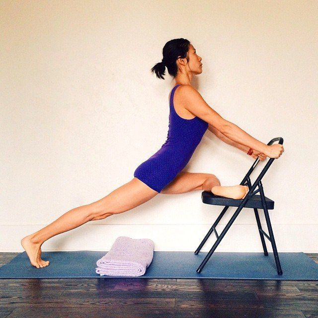 pigeon with chair assist | yoga