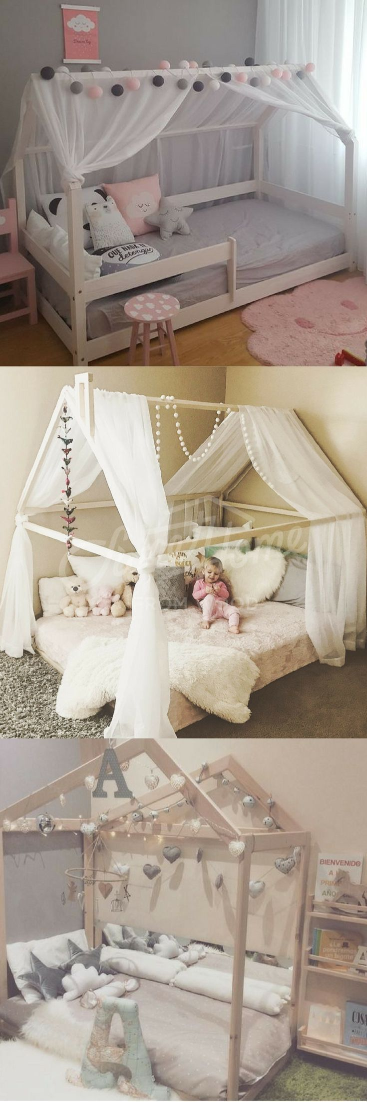 Pretty kid or toddler house bed designs.  Was never a fan of grey or pastels, now I want it every where!