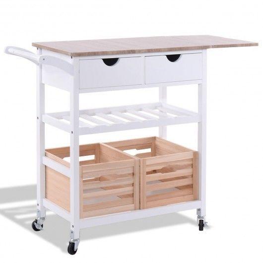 White Kitchen Cart Trolley Rolling Island Storage Wine Shelf Drawer Wood Baskets #Unbranded