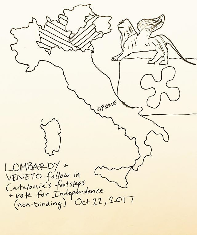 Lombardy & Veneto follow in Catalonia's footsteps by voting on independence #lombardy #veneto #venice #verona #italy #italia #referendum #catalonia #catalunya #freedom #independence #eu #brexit #politics #maps #geography #art #drawing #infographic