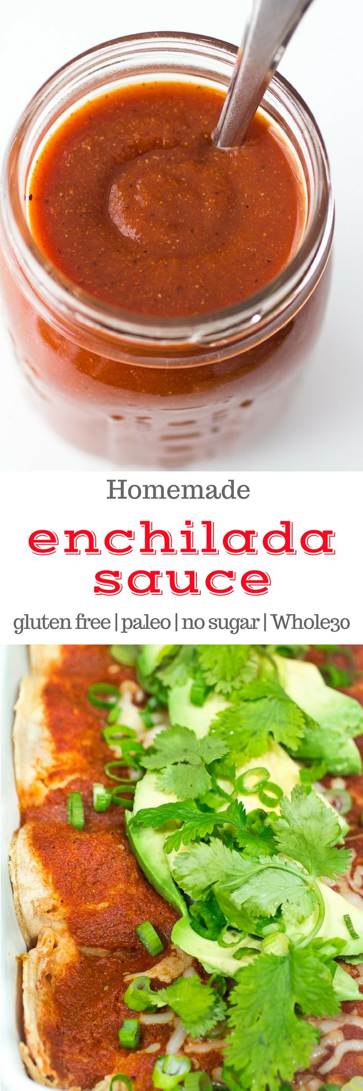 This homemade gluten free enchilada sauce only takes 30 minutes to make! It's super simple and #glutenfree #paleo #vegan and #whole30 compliant. #enchilada #recipe #texmex #30minute #30minute meals