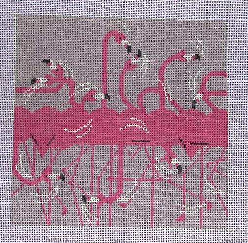 Charley Harper Flamingo Row Needlepoint Canvas