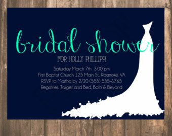White Wedding Dress Bridal Shower Invitation- Bridal Gown Shower simple Navy and teal bridal shower by gingersnapinvites. Explore more products on http://gingersnapinvites.etsy.com