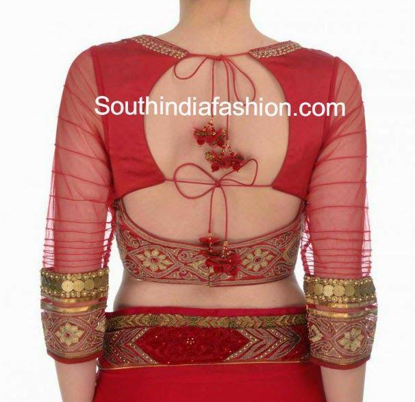 Stylish Back Neck Blouse ~ Celebrity Sarees, Designer Sarees, Bridal Sarees, Latest Blouse Designs 2014