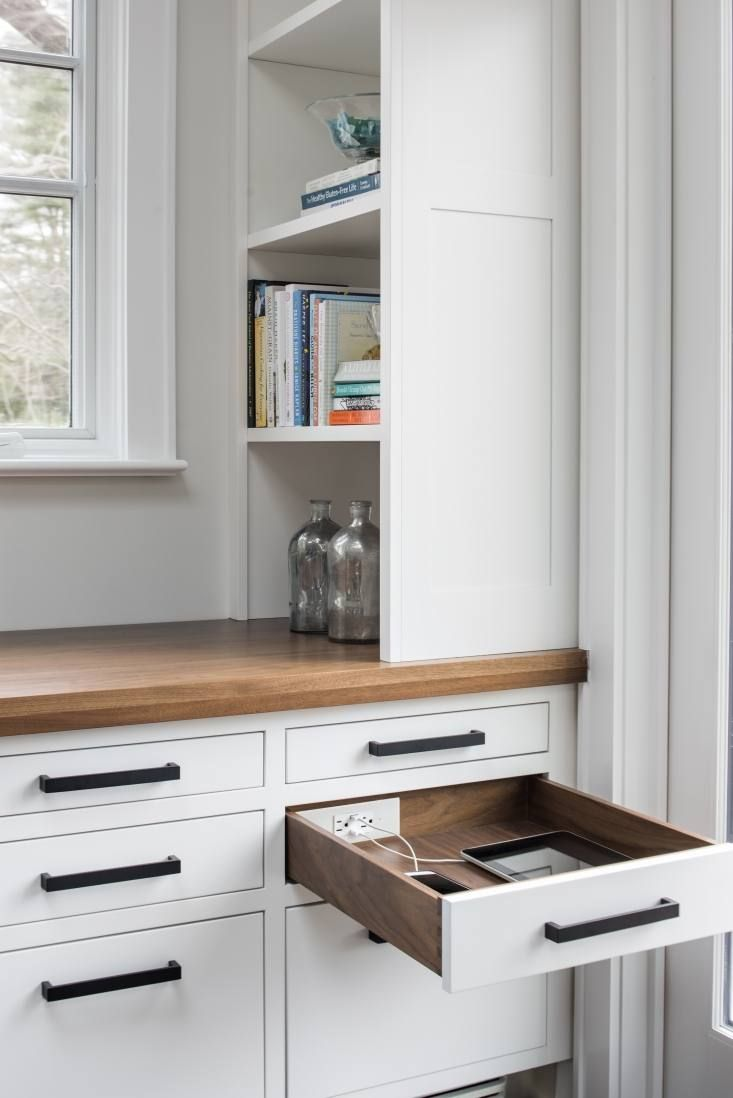 Clutter Free Organized Spaces With In Drawer Electrical Outlets From Docking Drawer Remodelista Kitchen Layout Kitchen Design Dining Table Height