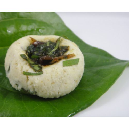 Paan Sandesh -- Shreds of paan leaves are rolled into sweet paneer and topped with rose-flavored gulkand for a refreshing kick after every sweet bite -- #indian_sweets #mithai