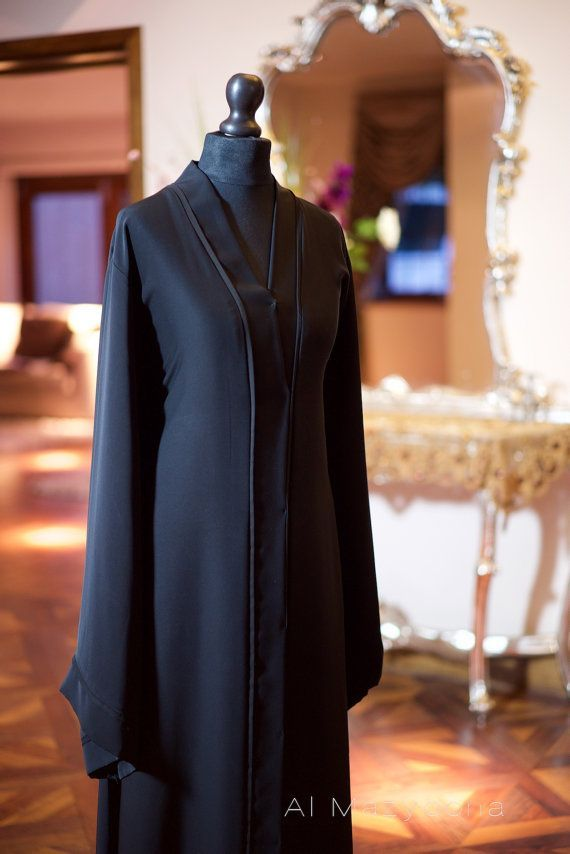 Al Mazyoona Black Gold Beaded Embroidered Abaya by Almazyoona