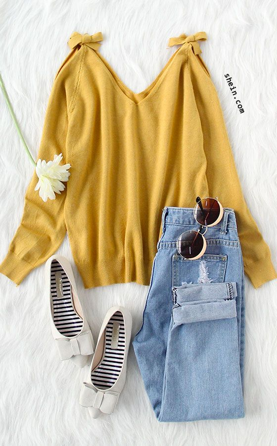 Sweet fall style- Yellow open shoulder jersey sweater outfit.