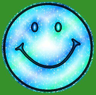 Blue Green Glitter Smiley Face MySpace Glitter Graphic Comment