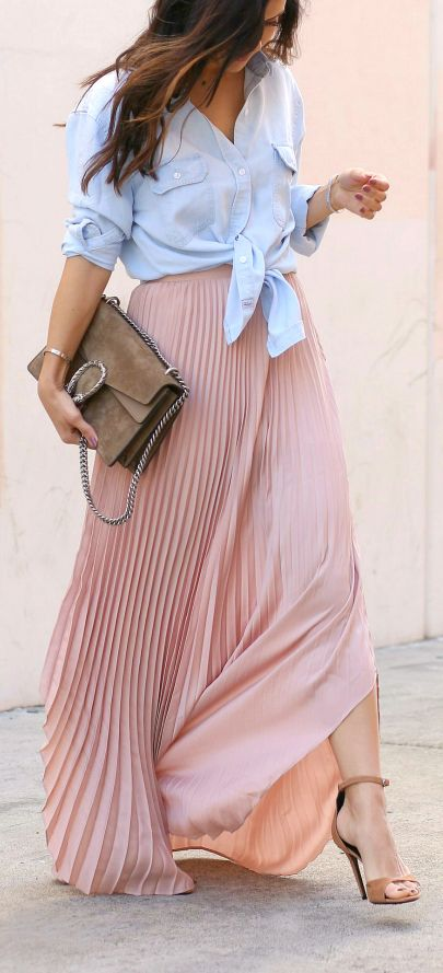 Chambray top + maxi skirt