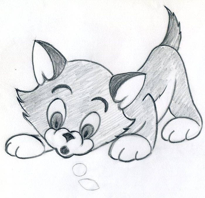 Sketches of Cartoon Characters | How To Draw Cartoon Kitten Easily And Effortlessly in Few Simple Steps ...