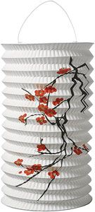 White with Cherry Blossoms Accordion Paper Lanterns perfect if they choose the red and black theme