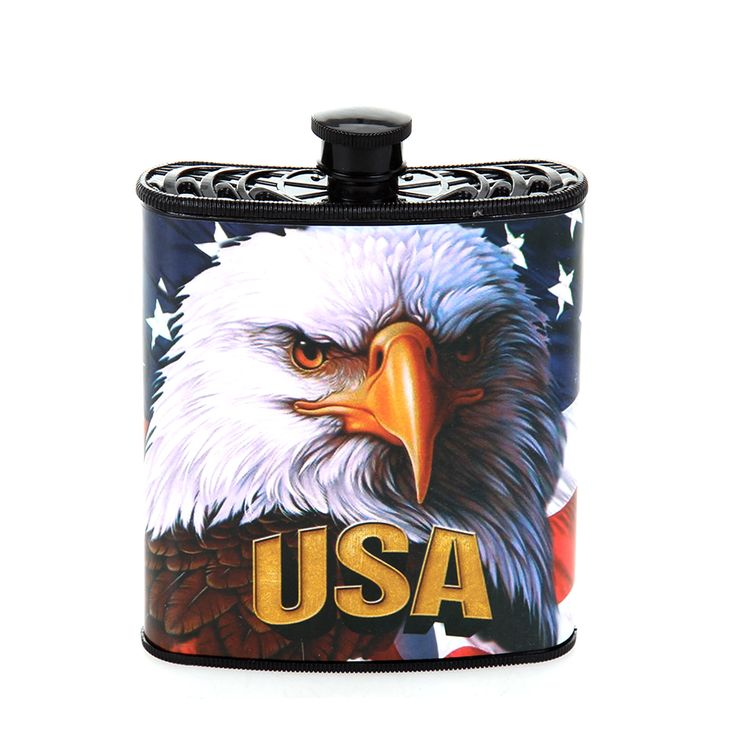 Red, White and Blue Patriotic USA Hip Plastic Flask 7 oz - Eagle