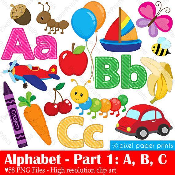 Alphabet Clipart Part 1 ABC clip art School por pixelpaperprints