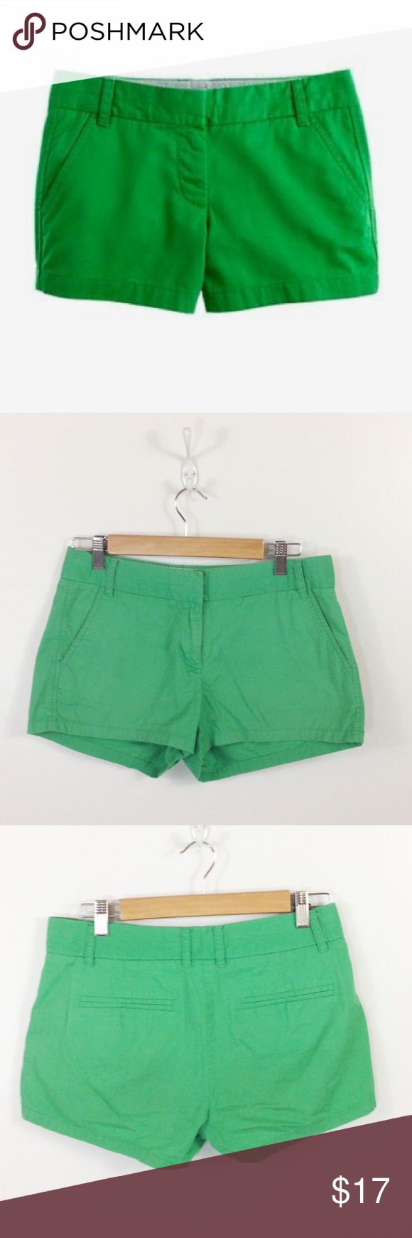 "👑NEW ARRIVAL J Crew 3"" Green Chino Shorts Bright Bright kelly green chino shorts from j crew factory. Very good condition with light wash wear. Fit true to size. J. Crew Factory Shorts"