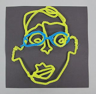 Pipe cleaner portraits: Alexander Calder. Calder would carry a ball of wire and pliers in his pocket and do portraits of folks in wire at parties. This is a great way to introduct this type of art to kiddos.