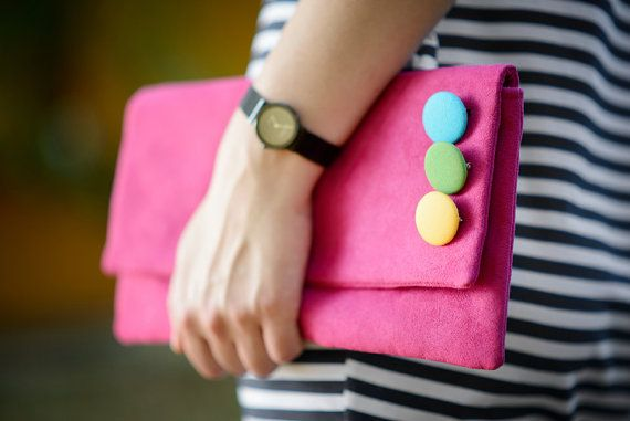 pink CLUTCH  small decorated colored dots with belt  by bandabag