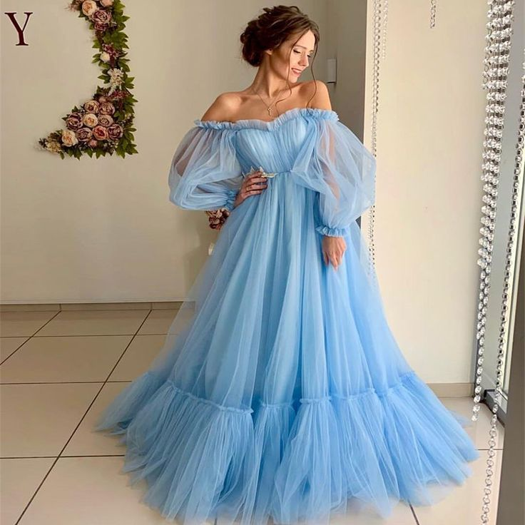 Long Prom Dress,Off the Shoulder Long Sleeve Formal Prom Dress CCo1