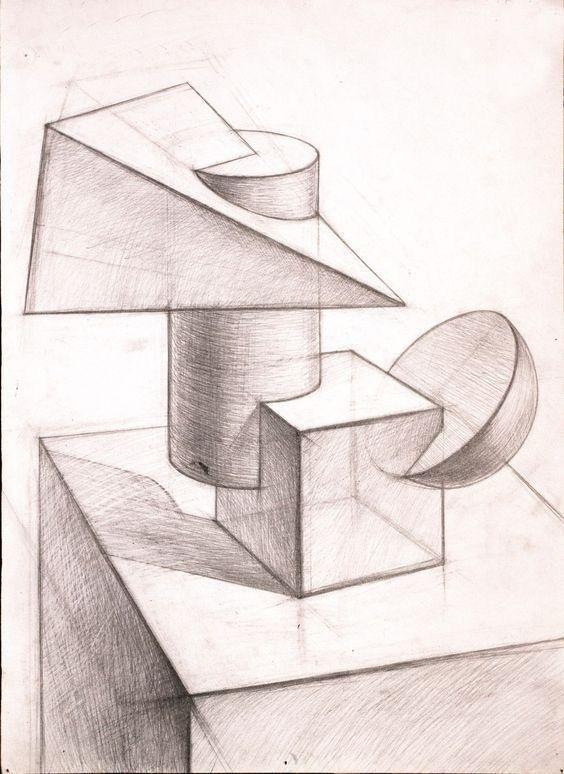 drawing geometric shapes perspective zeichnen object dessin drawings composition geometrische arte bleistift still form formen objet desenhos geometricas croquis zeichnungen