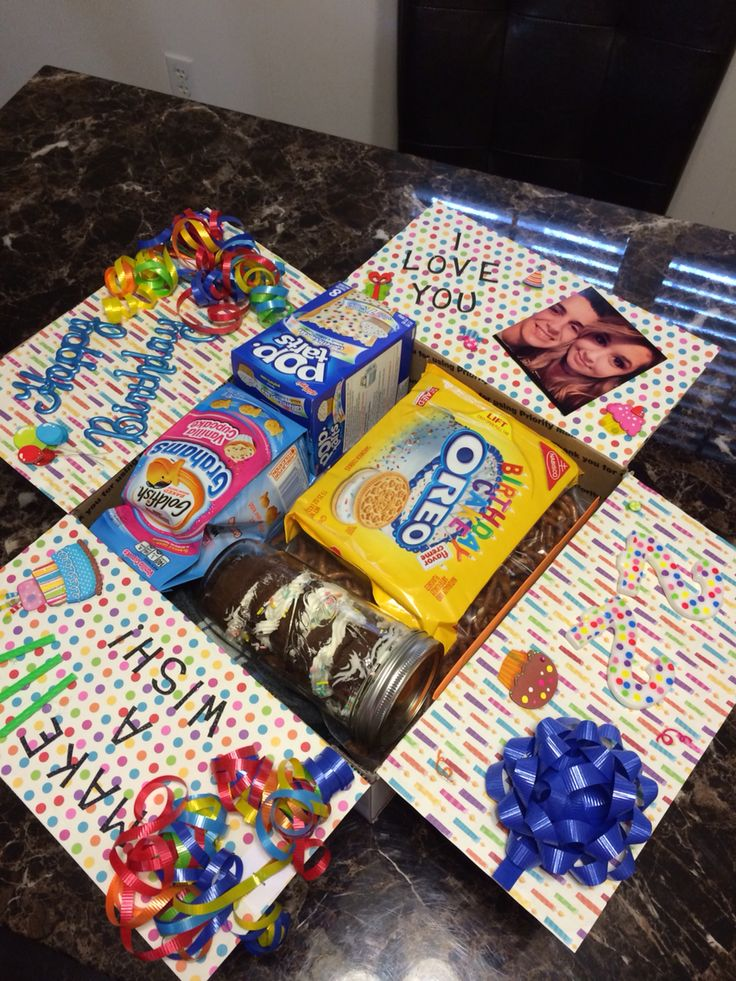"""Happy Birthday"" care package that I made for my deployed husband. Everything in the box is birthday/cupcake/confetti themed - super fun! He LOVED it!"