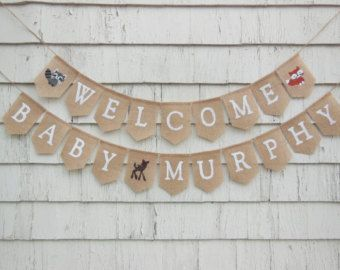 Woodland Baby shower Banner Welcome Baby Banner Woodland