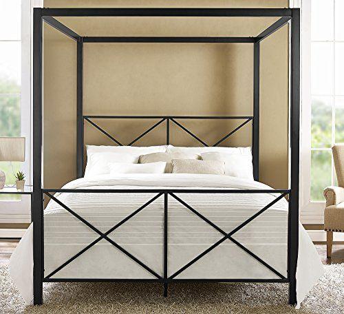 dhp rosedale modern romance metal queen canopy bed frame https - White Metal Queen Bed Frame
