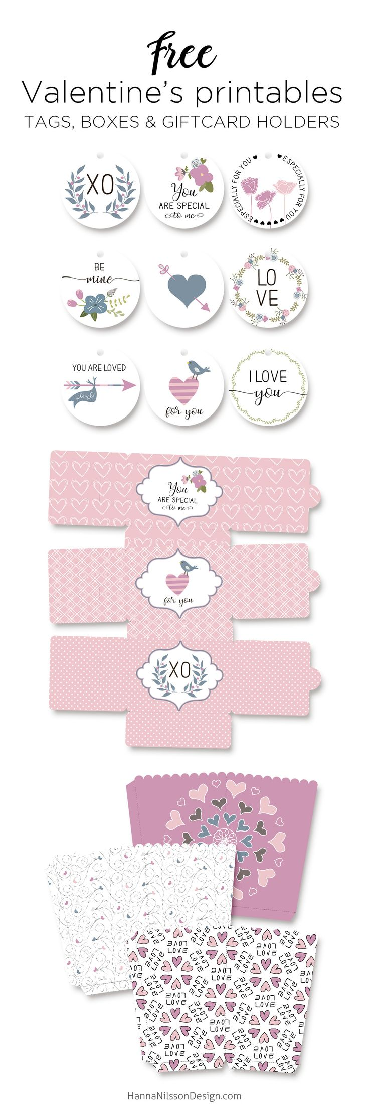 Valentine's Day printables - tags, popcorn boxes + giftcard holders ----------------- valentine's day, love, xoxo, cards, printables, wall decor, tags, boxes, chocolate, treat boxes, gifts, banners, valentines decorations, party printables, templates
